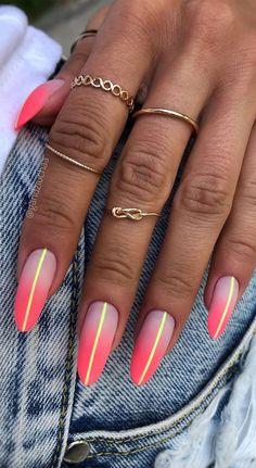 Chic Nail Designs, Bright Nail Designs, Sexy Nails, Cute Nails, Pretty Nails, Watermelon Nail Art, Neon Acrylic Nails, Magic Nails, Lines On Nails