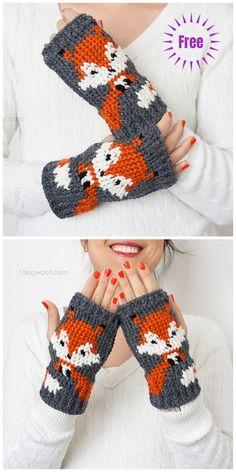 Crochet Fox Fingerless Gloves Free Crochet Patterns Source by DIYDailyMag. Crochet Fingerless Gloves Free Pattern, Crochet Mitts, Mode Crochet, Crochet Gloves, Crochet Crafts, Easy Crochet, Crochet Baby, Crochet Projects, Crochet Arm Warmers