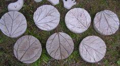 Cute Rhubarb leaf stepping stones. DIY - Dad will love it!