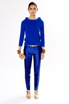 """Suiting - cropped at the ankle pants with blue and knits... Michael Kors has got it ALL with this outfit, see """"Resorting back to fashion"""""""