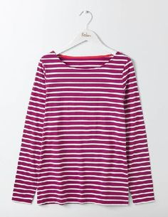 #Boden Long Sleeve Breton Fallen Fruit/Ivory Women #On an average day, you can find roughly 83% of Boden staffers wearing something stripy. Well, nothing beats a classic. This long-sleeved Breton is made from supersoft cotton and is THE wardrobe must-have.