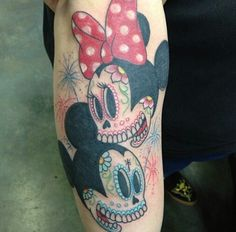 mickey and minnie mouse sugar skull soooo want this on my left thigh!!!