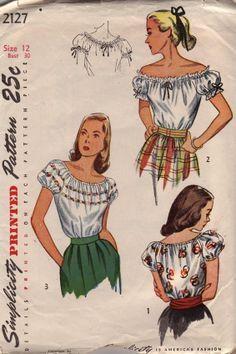vintage peasant blouses ~ Simplicity 2127, c1945