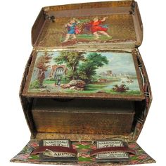 19th Century Victorian LITHOGRAGH SEWING BOX scraps vintage tartan explosion pin cushion; Original Antique