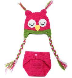 Owl Infant Baby Knit Crochet Handmade Photography Photo Props KXBBP008