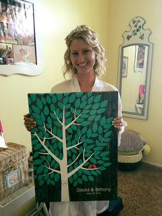 Darkwood Wedding Tree Canvas | Guest Book Alternative | 150 Signature Spaces | Rustic Wedding | Customer Photo | Wedding Color - Teal | peachwik.com