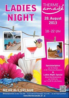 THERME AMADÉ - Ladies Night, Spezialaufgüsse am 28. August 2013 in der Panorama-Alpsauna & Ladies Night-Spezia. mit einer Black Mud-Anwendung um nur Euro 6,00 für alle Damen!