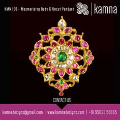 Mesmerising Ruby & Uncut pendant at its traditional best.. A beauty to be adorned with beads..
