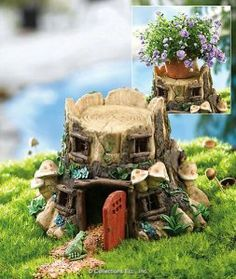 """Toad House Cottage By Collections Etc by Natures Touch. $14.99. Top lifts off for a better view inside. With hand painted mushrooms, flowers and green vines. Door and windows both swing open. Polyresin, measures 8 3/4"""" wide x 7 3/4"""" high. Cottage features a detailed tree stump. Even a toad needs a place to hop back to at the end of the day. Delightful Toad Cottage may become the most popular attraction in your entire garden. Cottage features a detailed tree stum..."""