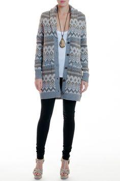 HH fairisle sweater coat.
