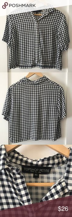 Topshop gingham XS button down cropped shirt Like new. Petite XS but fit is oversized so fits like a regular XS/S. Slightly cropped fit. Topshop Tops Button Down Shirts