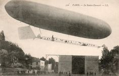 An poster sized print, approx (other products available) - Mr Alberto Santos Dumont Flying His Number 10 Omnibus Airship Outside the Hangar, Paris, France Date: - Image supplied by Mary Evans Prints Online - Poster printed in the USA Aviation Image, Number 10, Vintage Airplanes, Ballon, Online Images, Wonderful Images, Poster Size Prints, Photo Puzzle, Online Printing