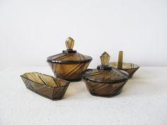 Four/4x Art Deco crystal vanity set with 2 trinket by EbyglassETC, €22.60