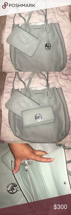 Reversible Michael Kors purse and wallet Meant Michael Kors bag with an extra wallet with card holder and zipper bag is mint and silver beautiful wallet with card slot money slot and a place for change ... I used this bag once ... it's a beautiful bag !! Great for spring Michael Kors Bags Shoulder Bags