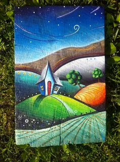 Items similar to A Small Colorful Acrylic Painting on Reclaimed Barn WOod  with Rolling Hills and a Blue House on Etsy