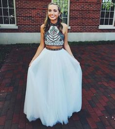 New Arrival Prom Dress,Two Piece Prom Dresses,Long Evening