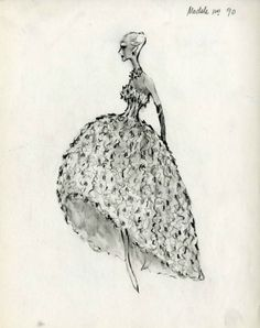 from the balenciaga archives- I drew styles from Balenciaga to decorate Hannah Louise's room with this