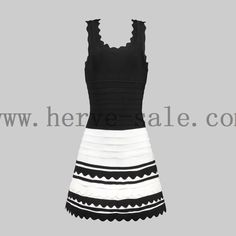 Herve Leger Black and White U-neck