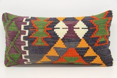 Turkish Lumbar kilim pillow cover 12x24 inches by Damgadecor