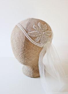"NEW 55"" Jasmine Bridal Cap Wedding Veil with a Sparkling Flower. $205.00, via Etsy."