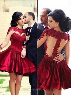 Burgundy long sleeve prom dresses, a-line lace short prom dress,grad dresses Long Sleeve Homecoming Dresses, Prom Dresses With Sleeves, Maxi Dresses, Grad Dresses, Short Beach Dresses, Short Mini Dress, Dress Long, Long Dresses, Formal Dress
