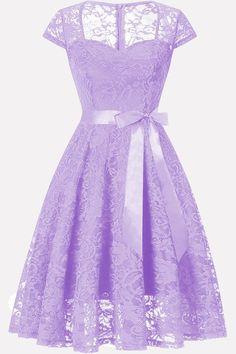 Women Chic Square Neck Tied Cap Sleeve Light-purple Party Lace Dress - S Dama Dresses, Quince Dresses, Dresses Uk, Casual Dresses, Short Dresses, Formal Dresses, Pretty Dresses, Beautiful Dresses, Homecoming Dresses