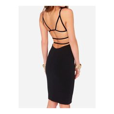 SheIn(sheinside) Black Spaghetti Strap Backless Bodycon Dress ($13) ❤ liked on Polyvore featuring dresses, black, backless cocktail dress, bodycon dress, black bodycon dress, black sleeveless dress and backless dress