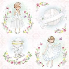 First Communion Cards, First Communion Invitations, Rice Paper Decoupage, Cactus Drawing, Girls With Flowers, Cool Stickers, Digital Stamps, Diy Art, Paper Dolls