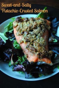 A medley of delicious flavors, this Sweet and Salty Pistachio-Crusted Salmon recipe is the perfect summertime dish! Try adding it on top of a bed of greens for a well-rounded dinner. Delicious Salmon Recipes, Yummy Food, Healthy Recipes, Healthy Eats, Pistachio Recipes, Sweet And Salty, Fish And Seafood, Seafood Recipes