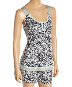 Another great find on #zulily! White Leopard Lace-Trim Tuck Me In Short Pajama Set #zulilyfinds