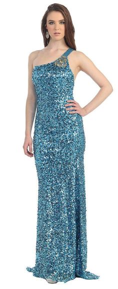 Long Fully Sequins One Shoulder Prom Formal Evening Dress - The Dress Outlet - 6