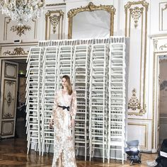 "Chriselle Lim on Instagram: ""This dreamy lace situation at the @alexismabille show + the interior of this place tho ."""