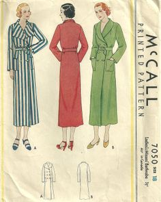 McCall 7050 Vintage 30s Sewing Pattern Robe Housecoat Lingerie Size 18 Bust 36
