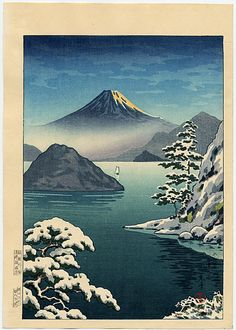 Fuji from Mitsu Bay in Snow, woodblock print, by Koitsu, Tsuchiya, (1936) c.1948 -- See also at: http://www.koitsu.com/Fuji%20from%20Mitsu%20Bay%20in%20Snow.htm