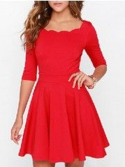 Delicate Round Neck Falbala Plain Skater-dress
