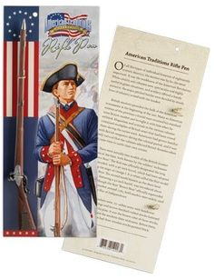 Ballpoint rifle pen with blue ink. Educational text on back of a four-color printed product card about Revolutionary War muskets.  Specifications: Package measures 10.5 H X 4.5 W x .25 D Meets CPSIA safety standards http://patriotdepot.com/revolutionary-war-rifle-pen/