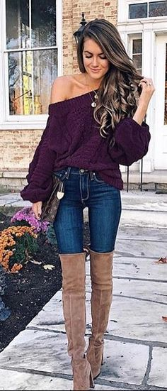 #winter #fashion Violet knit sweater high suede boots and jeans