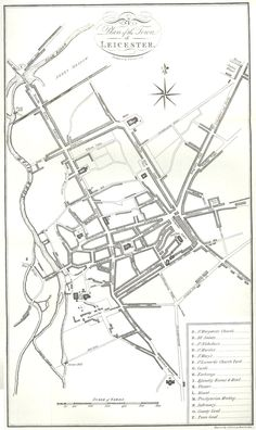Map of Leicester in 1804, showing the newly constructed Soar Navigation. The Frog Island area is at the top of the map. Leicester Map, Leicester England, Old Maps, Postcards, Script, Random Stuff, Photographs, Old Cards, Script Typeface