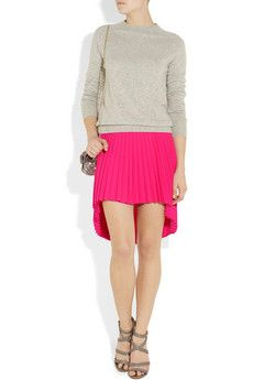 Christopher Kane Pleated Stretch Wool-Crepe Skirt - pretty in pink (and pleats!).