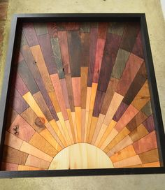 "wooden wall art - ""Second Avenue Sunrise"" - wood art, wooden art, wall art, sunrise, brown, yellow"