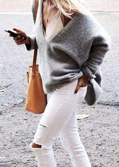 grey sweaters + white denim