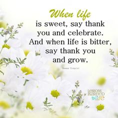 When life is sweet, say thank you and celebrate. And when life is bitter, say thank you and grow. ~Shauna Niequist Lessons Learned In Life