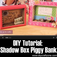 Great idea. The kids can have a visual of their progress with a reminder of what they are saving for. DIY Tutorial- Shadow Box Piggy Bank