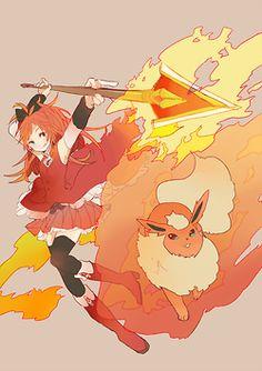 Madoka Magica x Pokemon Sakura & flareon Pokemon Crossover, Anime Crossover, Manga Art, Manga Anime, Anime Art, Madoka Magica, Vocaloid, Gijinka Pokemon, Pokemon Gif
