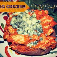Buffalo Chicken Stuffed Sweet Potato (sub feta cheese vs blue cheese)