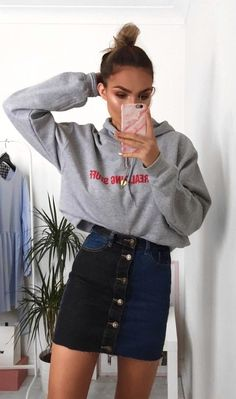 #fall #outfits gray pullover hoodie