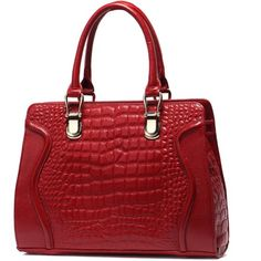 This trendy bag is made of high quality leather Gold toned hardware Two shoulder straps with long strap . Top zip closure Interior lining with a back wall zip pocket and multifunctional slip pockets  Sizing: Width Height Tote Handbags, Purses And Handbags, Beautiful Bags, Crocodile, Shoulder Bag, Shoulder Straps, Crocs, Red Colour, Lawyers