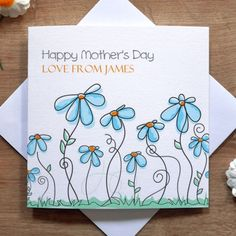 personalised handmade cornflowers mothers day card cute love mum mummy - Mother039s Day Greeting Card Messages
