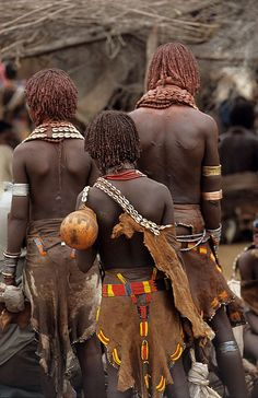 Africa - Beautiful Hamer women shop in a local market, Lower Omo Valley, South West Ethiopia