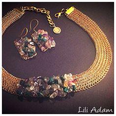 Colorido collar y los pendientes, alambre crochet,golden(gilt) wire.rare técnica crochet, mejor regalo para las mujeres, uso diario o de vez en cuando